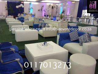 Blue & White Cocktail Event Furniture Rental