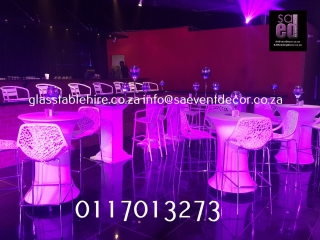 LED Cocktail Tables & Cocktail Chairs Furniture Hire