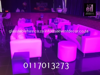 White Couch In Leatherette  Furniture Hire