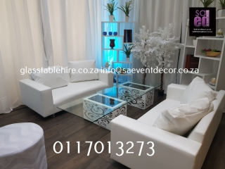 White Leatherette Couch Set For VIP  Lounge Cocktail Furniture  Hire.