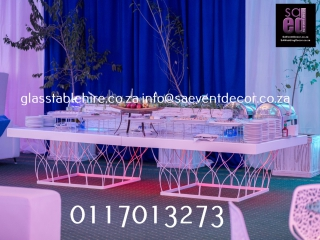 White & Blue Designer Geometric Cocktail  Furniture Rental