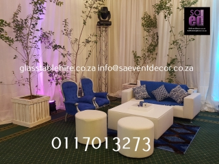 Blue & White Cocktail Event Furniture Hire