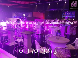 Cocktail Table With White Flock Cocktail Chair Furniture Hire