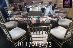 Gold And Black Glass Table Hire