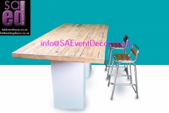 Natural Brown Table top Hire Placed on White Plinths From SA Event Decor
