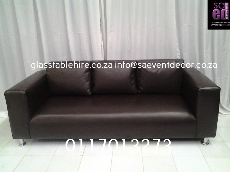 Brown Three- Seater Leatherette Couch