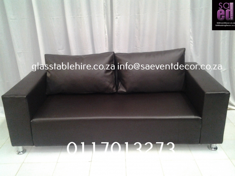 Brown  Two-Seater Leatherette Couch