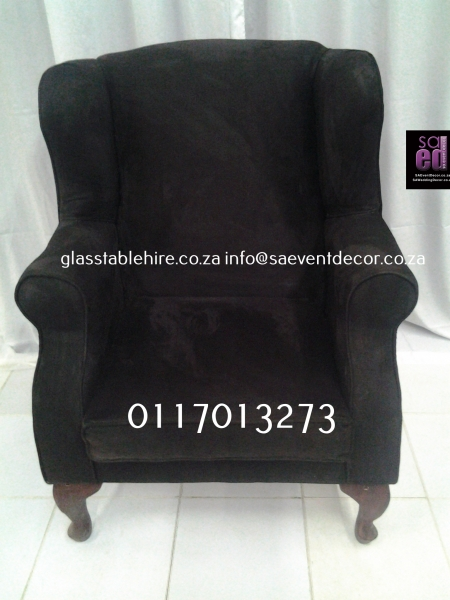 Black  Wingback Chair In Suede