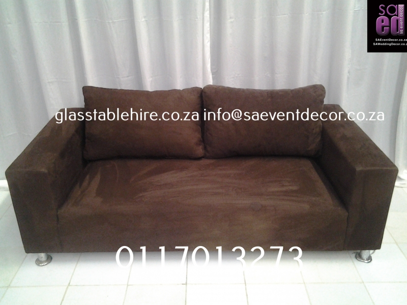 Brown Suede Two-Seater Leather Couch