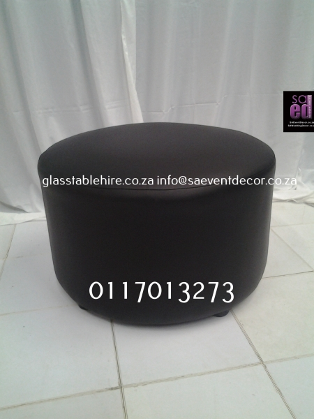 Black Round Ottoman In Leatherette
