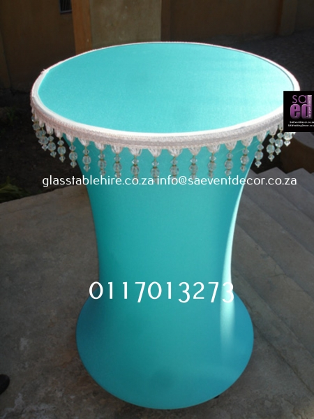 cocktail Turquoise Stretch Cocktail Table Cover Used With LED Finished With Beaded Edge Detail For An Elegant Look
