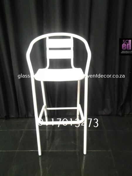 Aluminium & Wood Café Chair White Aluminium Cocktail Chair