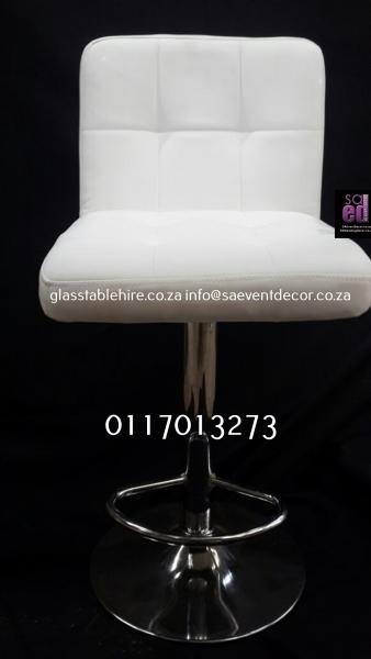 Aluminium & Wood Café Chair White Square  Leatherette  & Aluminium  Cocktail Chair