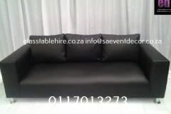 Black Three- Seater Leather Couch