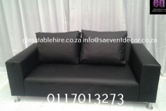 Black  Two-Seater Leather Couch