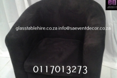 Black Single Tub Chair In Suede
