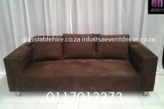 Brown Three- Seater Suede Couch
