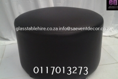 Black Round Ottoman In Leatherette