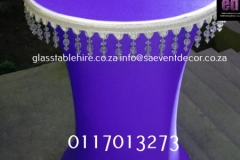 cocktail Purple Cocktail Table with White Beaded Edge Detail