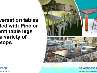 Conversation-style-cocktail-tables-Maranti-and-pine-table-legs