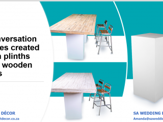 Conversation-style-cocktail-tables-created-with-wood-top-and-plinth
