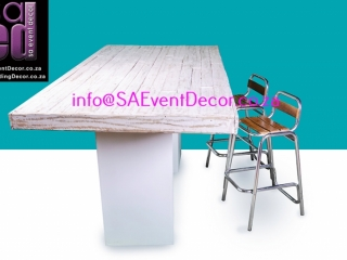 White Washed Vintage Table Top Placed On Plinths as Cocktail Table Hire