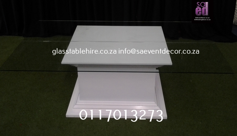 Clear Rectangular Glass Top and White Square Plinth