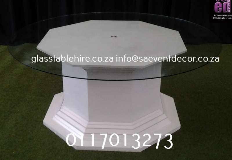 Clear Glass Circular Top and White Octagon Plinth