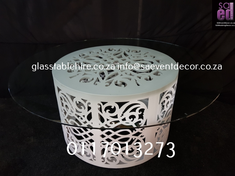 Clear Round Glass Table Top - White Round CNC Designer Table Base