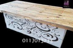 Rustic Table Top In Wood On White Plinth
