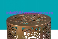 CNC Laser Gold designer Table Bse Hire From SA Event Decor