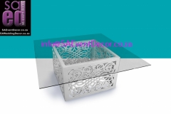 CNC Laser White Square Designer Table Base Hire from SA Event Decor