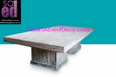 White Washed Vintage Table With White Washed Table Base Hire From SA Event Decor