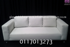 White  Three Seater Leatherette Couch