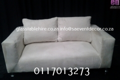 White Double Seater Couch In Suede