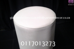 White Round Ottoman