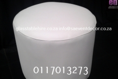 White Round Ottoman In Leatherette