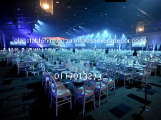 Glass Table Hire and White Phoenix Dinning Chair Hire