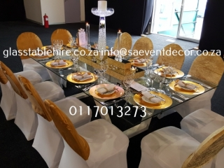 Designer Steel Rectangular & Glass Table Hire