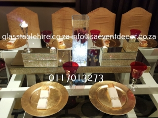 Rectangular Glass Table Hire with White Designer Table Frame Hire