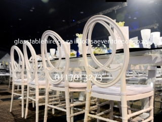 Rectangular Glass Table Hire with Designer Rectangular Table Frame In Steel Hire and White Phoenix Chair Hire