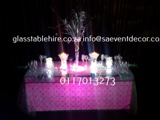 LED Stretch Table Base & Glass Table Top