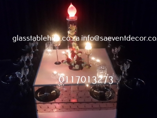 LED Stretch Base & Glass Table Hire