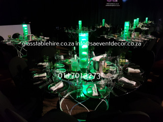 Champagne Sports Resort - Glass Round Table Top & Designer Steel Table Base
