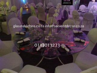 Glass round table with designer table base 12