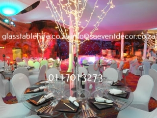 Glass round table with designer table base 15