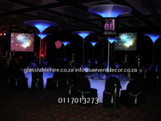 Black & Blue LED Table Bases & Glass Table Tops