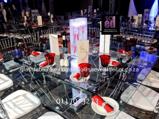 Glass Square Tables with Designer Steel Bases