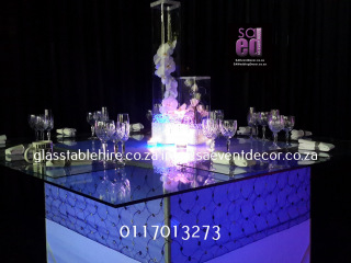 Glass Table with LED Table Base