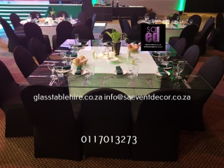 Glass Square Table Top with LED Table Base